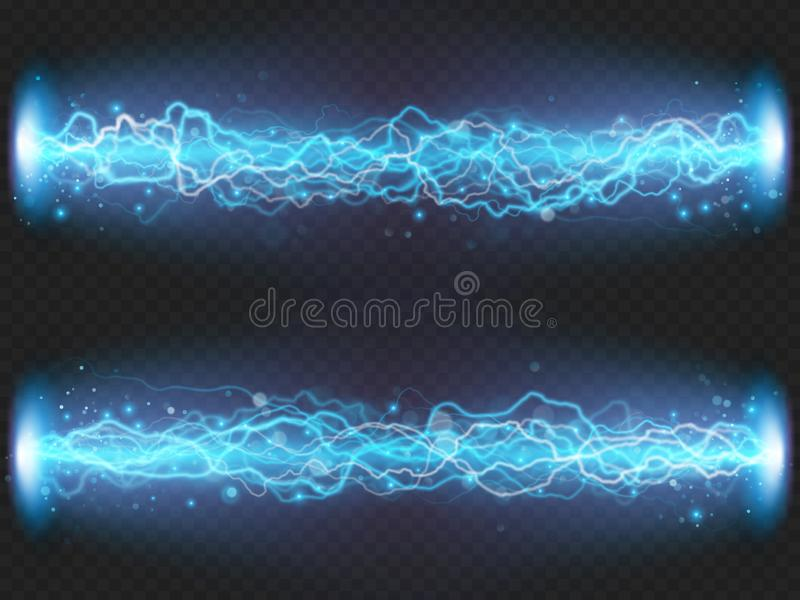 Descarga del flash del relámpago de la electricidad en fondo transparente Efecto visual eléctrico azul EPS 10 libre illustration