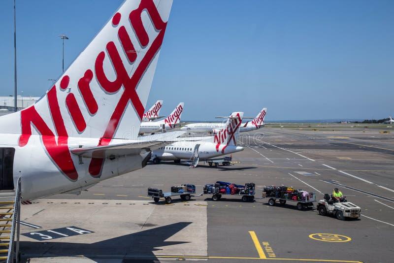 Descargando equipaje de aviones de la aerolínea Virgin foto de archivo libre de regalías