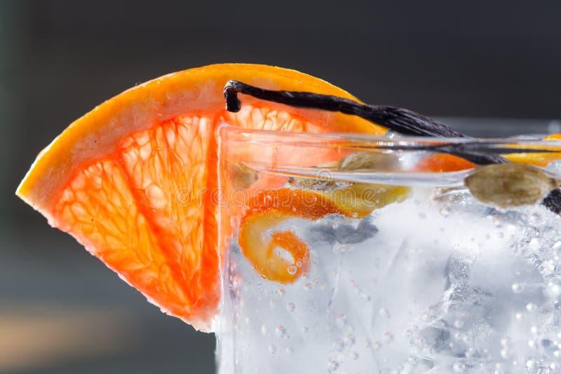 Descaroce o macro do cocktail do tônico com baunilha do cardamomo da toranja do gelo fotos de stock royalty free