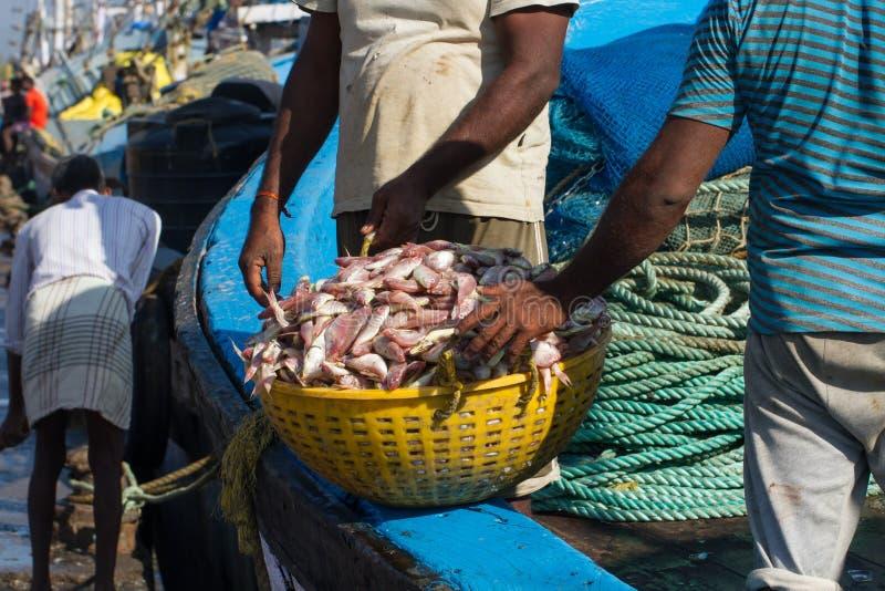 Descarregando um barco de pesca no porto da Índia do sul imagens de stock royalty free