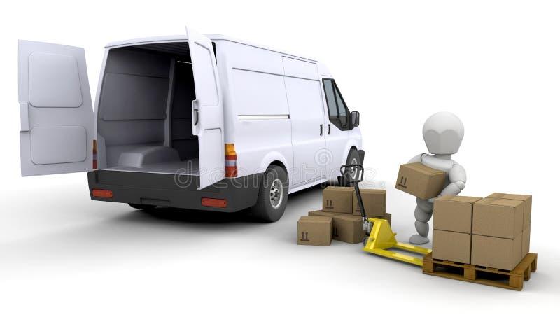 Descarregando uma camionete ilustração do vetor