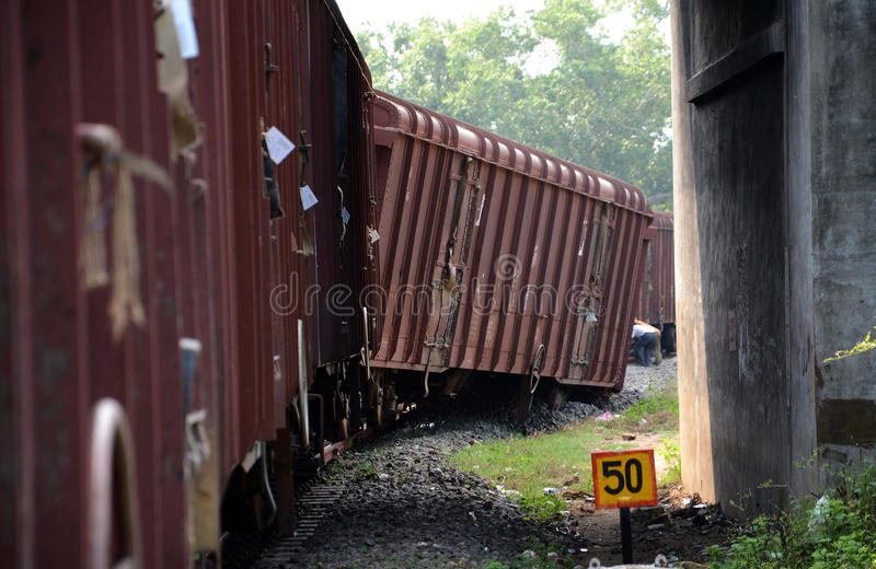 Descarrilamiento de tren fotografía de archivo libre de regalías