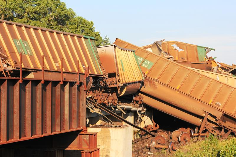 Descarrilamiento de tren cerca de Silverlake, Kansas fotografía de archivo