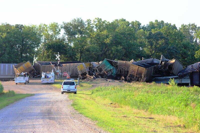 Descarrilamiento de tren cerca de Silverlake, Kansas foto de archivo libre de regalías