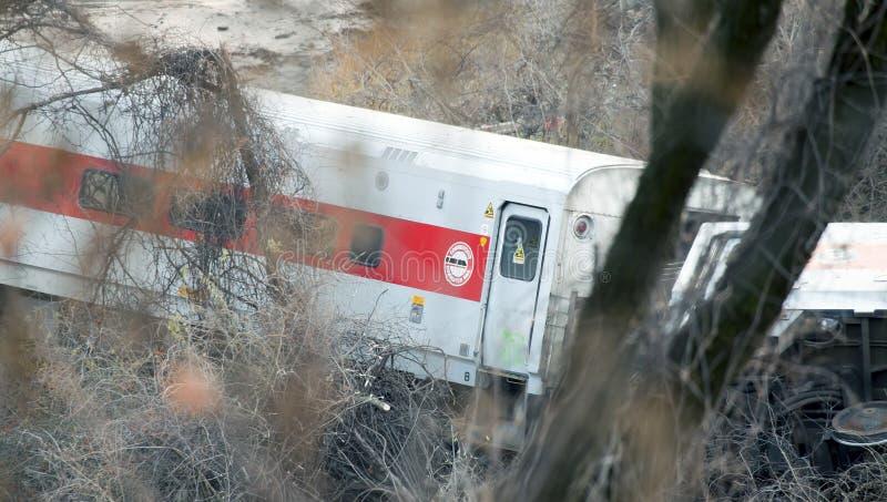 Descarrilamiento de tren del norte del metro en el Bronx foto de archivo