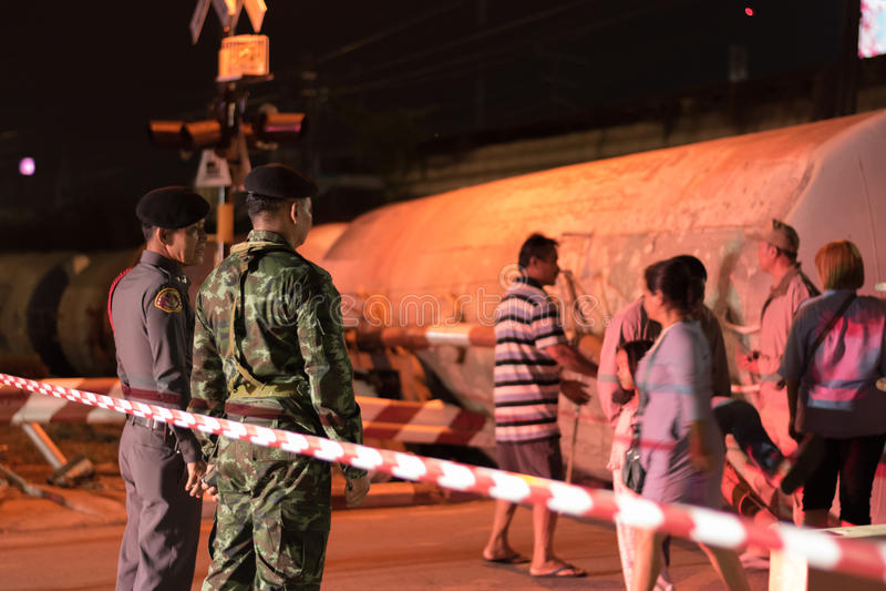 Descarrilamiento de tren en Nakhon Ratchasima, Tailandia 10/7/2017 fotografía de archivo libre de regalías