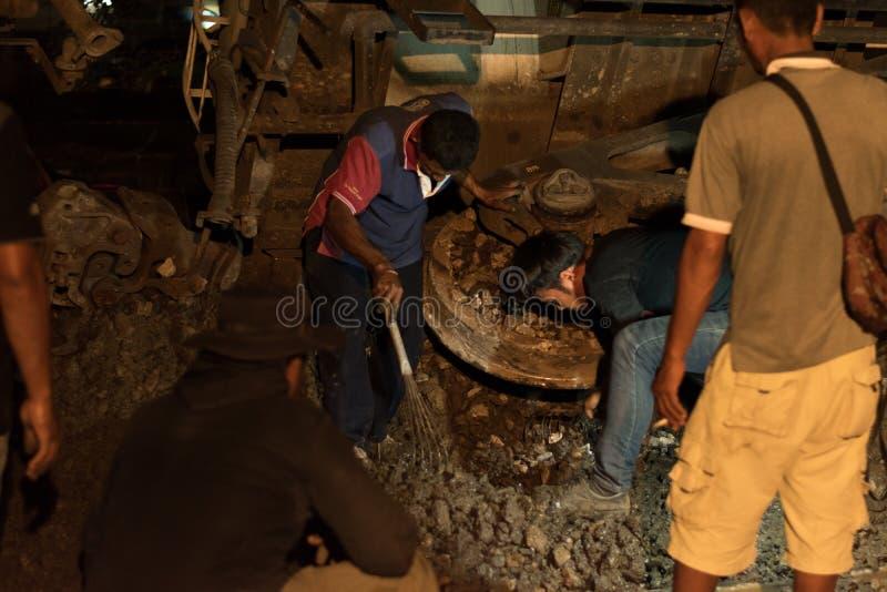 Descarrilamiento de tren en Nakhon Ratchasima, Tailandia 10/7/2017 foto de archivo