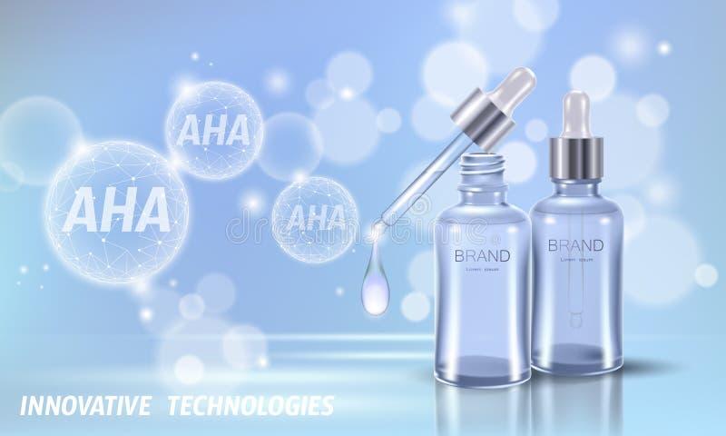 Descascamento ácido do salão de beleza do fruto Antienvelhecimento exfoliant glycolic de vidro dos ácidos láticos da pipeta AHA d ilustração stock