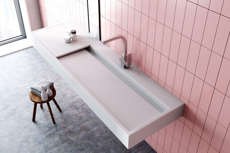 Descendez dans une salle de bains rose intérieure, vue supérieure illustration stock