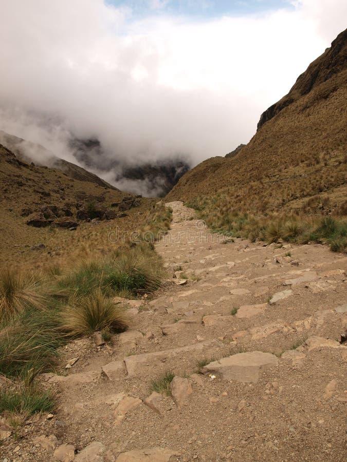 Descending Inca trail stock photo
