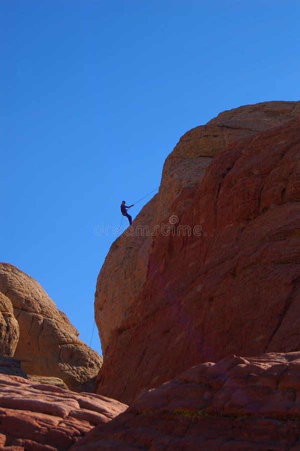 Descending Rock Climber Royalty Free Stock Image