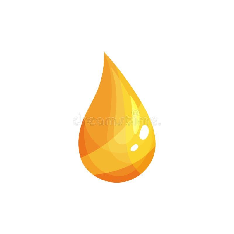 Descenso amarillo de la rabina, de la verdura o del aceite de oliva Gotita de oro que cae con puntos culminantes y sombras Icono  stock de ilustración