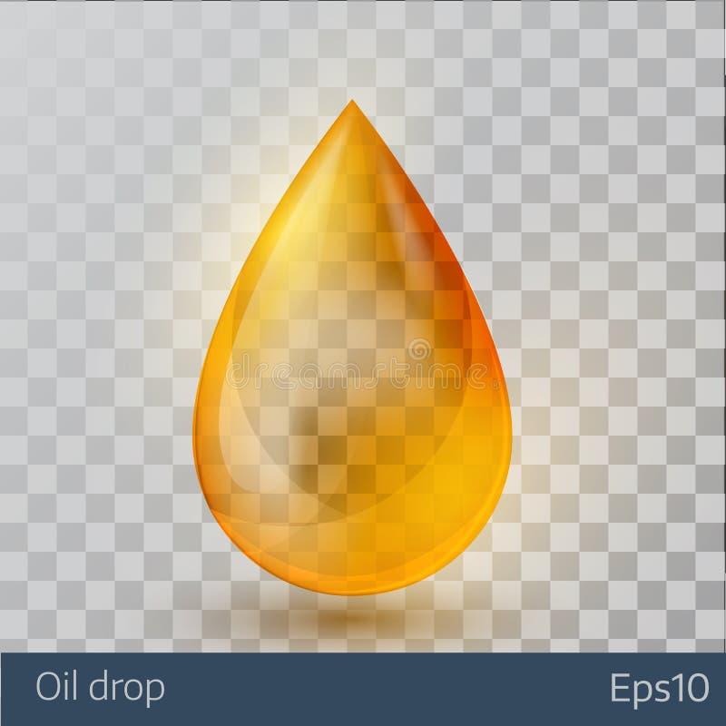 Descenso amarillo realista del aceite en el fondo blanco libre illustration
