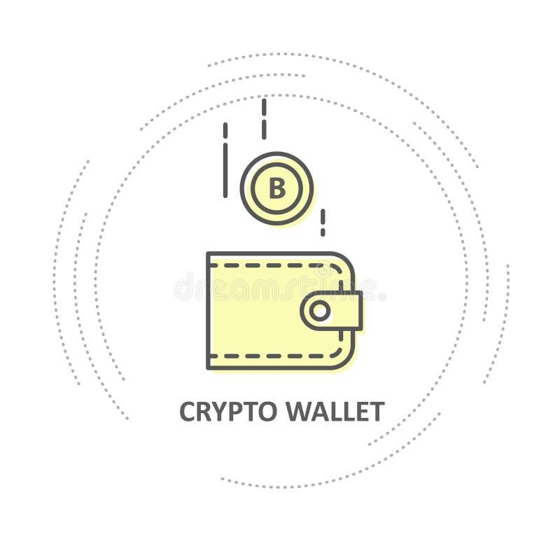 Descenso de Bitcoin en la cartera - icono simple de la cartera crypto ilustración del vector