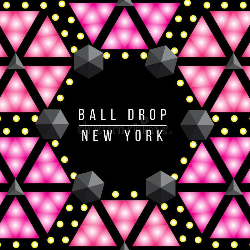Descenso de la bola del Año Nuevo en el Times Square Nueva York Sistema decorativo del ejemplo del vector libre illustration