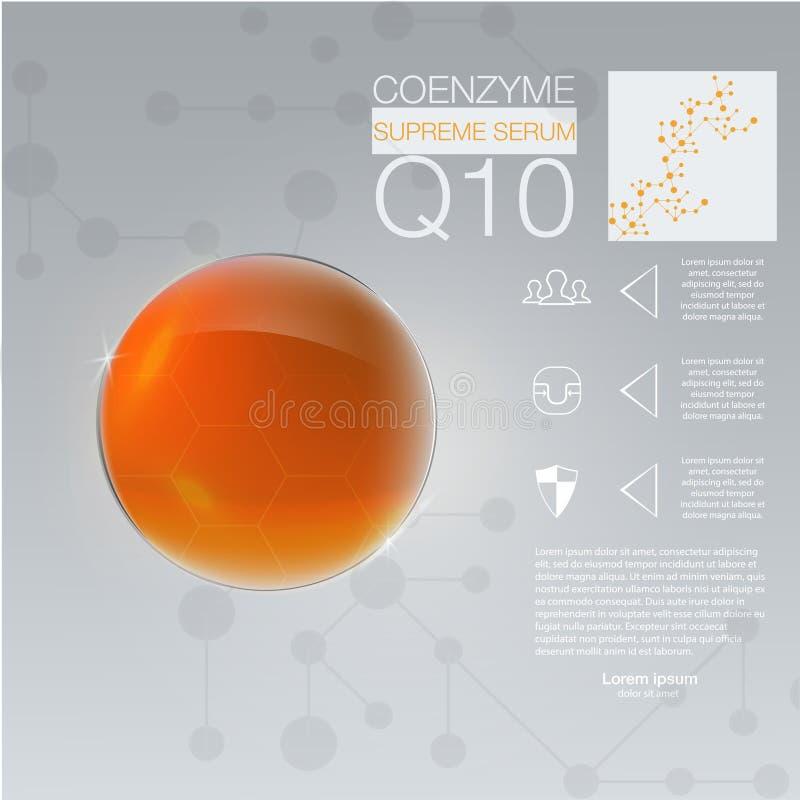 Descenso de la solución del colágeno, diseño del colágeno y fondo de la vitamina stock de ilustración