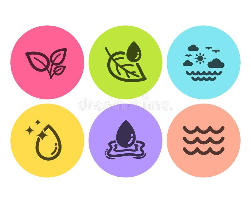 Descenso de las hojas, del agua y sistema de los iconos del rocío de la hoja Mar del viaje, chapoteo del agua y muestras de las o libre illustration
