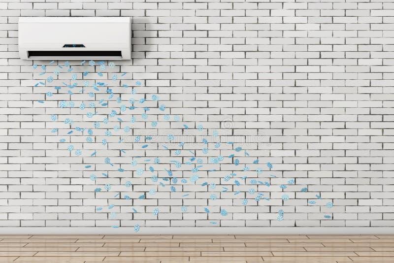 Descenso de los copos de nieve del acondicionador de aire moderno representación 3d stock de ilustración