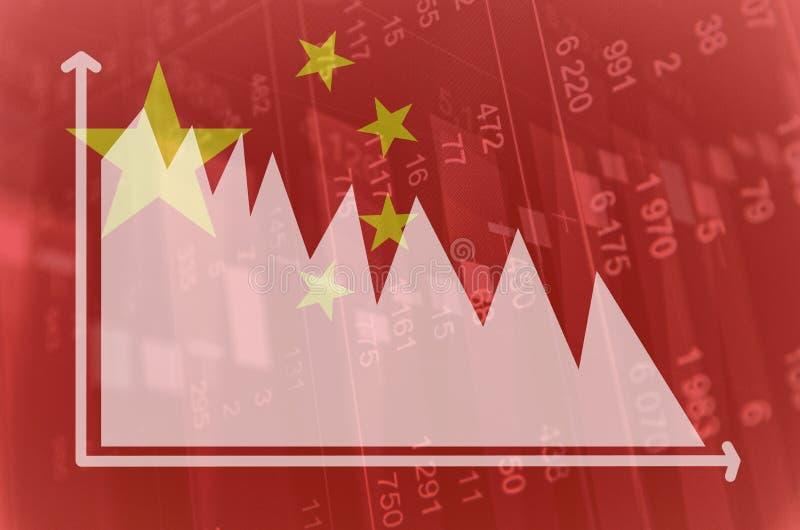 Descenso de mercados financieros de China stock de ilustración