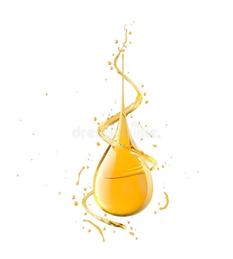 Descenso del aceite aislado en el fondo blanco, el líquido amarillo de oro o ejemplo del aceite lubricante 3d del motor imágenes de archivo libres de regalías