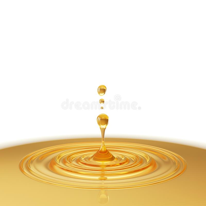 Descenso del aceite con la ondulación, el líquido amarillo de oro o el ejemplo del aceite lubricante 3d del motor foto de archivo