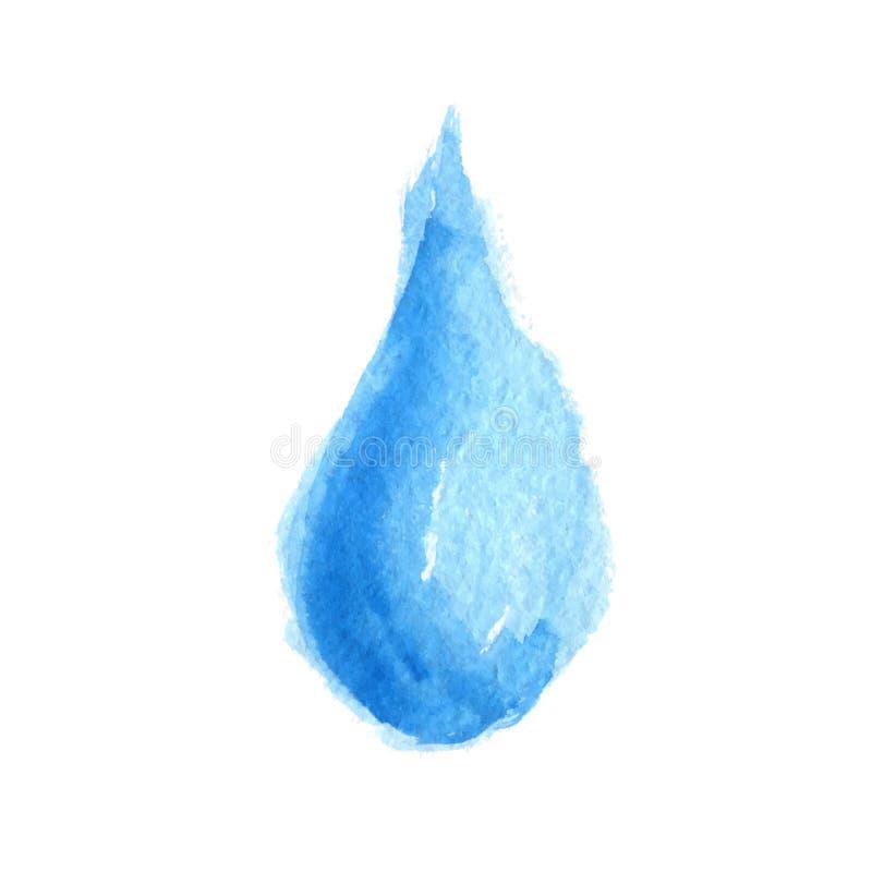 Descenso del agua azul de la acuarela Vector stock de ilustración