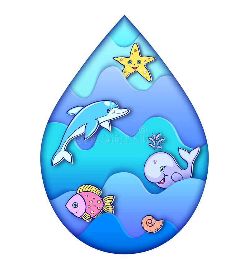 Descenso del agua con los animales del océano stock de ilustración