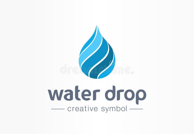 Descenso del agua, concepto creativo del símbolo de la aguamarina Onda limpia, bebida fresca, logotipo azul del negocio del extra ilustración del vector