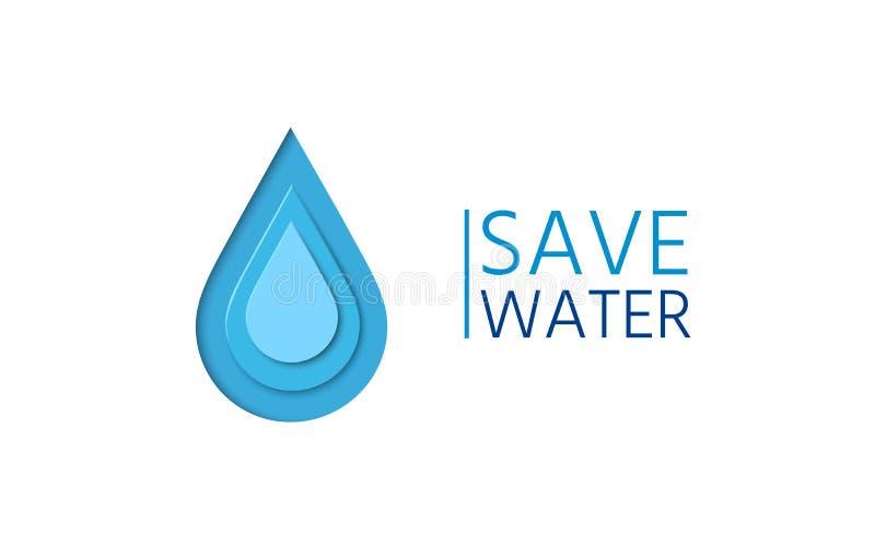 Descenso del agua en el estilo de papel Ahorre el cartel de la campaña del agua ilustración del vector
