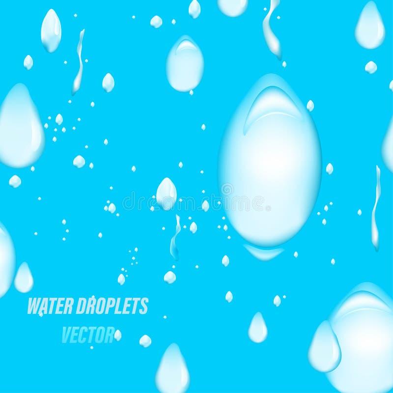Descenso del agua en una escena azul stock de ilustración