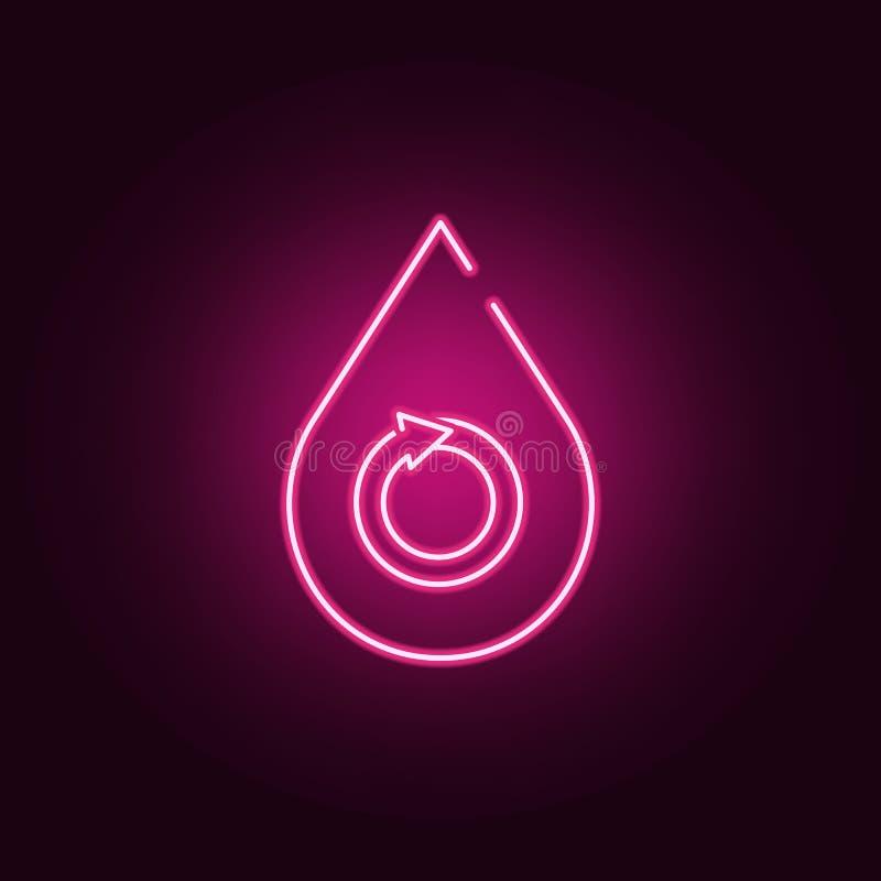 Descenso del agua - icono de neón del concepto renovable Elementos del sistema de la ecolog?a Icono simple para las p?ginas web,  ilustración del vector