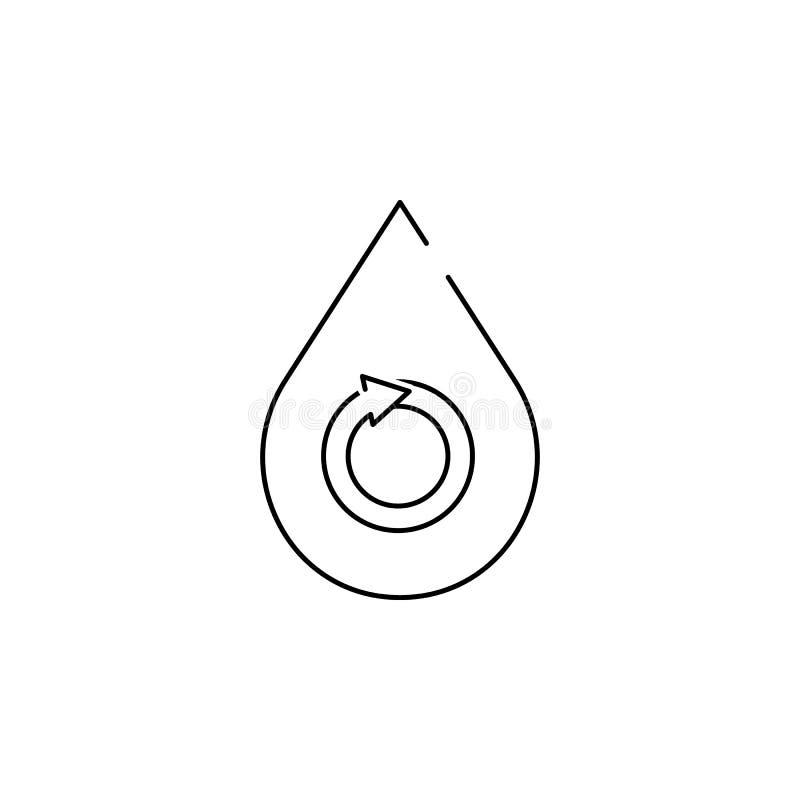 Descenso del agua - icono renovable del concepto ilustración del vector