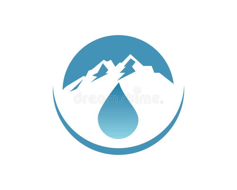 descenso del agua y diseño del ejemplo del vector del icono del logotipo de la montaña para el negocio del agua de botella libre illustration