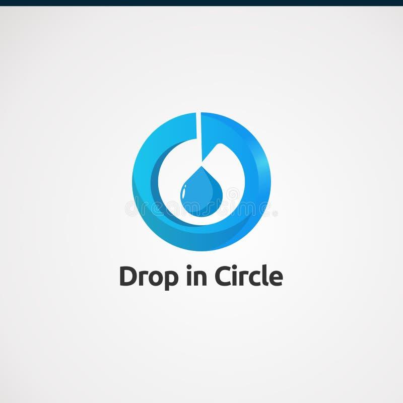 Descenso en círculo con concepto, el icono, el elemento, y la plantilla azules del vector del logotipo del color para la compañía ilustración del vector