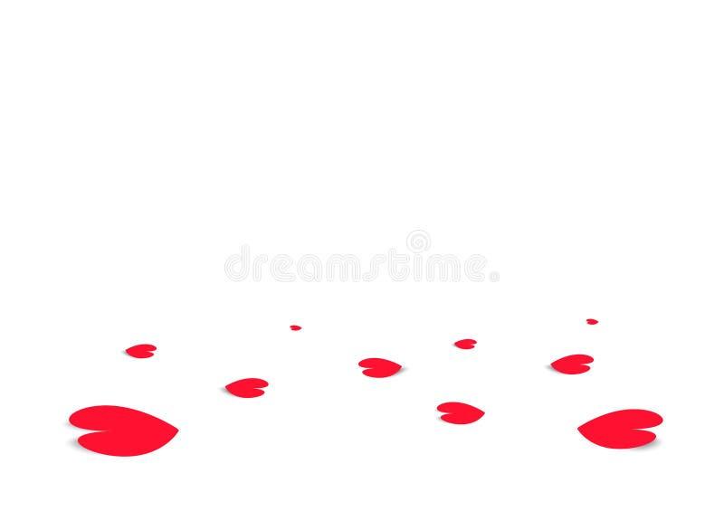Descenso en el piso, ejemplo del papel del confeti del corazón del vector del fondo del extracto del festival de la celebración d libre illustration
