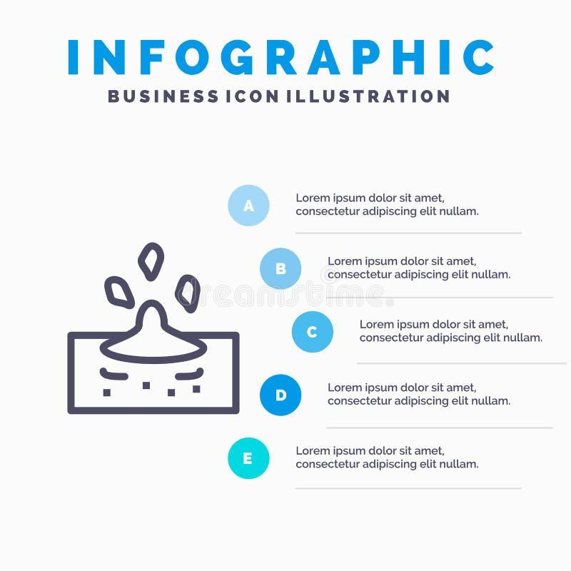 Descenso, lluvia, lluviosa, línea de agua icono con el fondo del infographics de la presentación de 5 pasos ilustración del vector