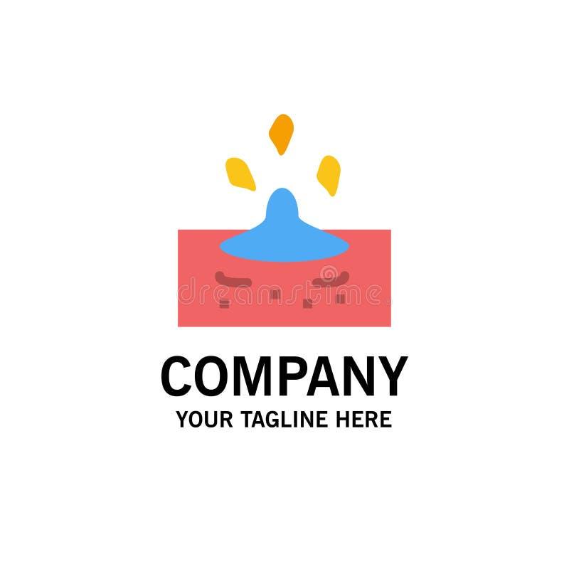 Descenso, lluvia, lluviosa, negocio Logo Template del agua color plano stock de ilustración