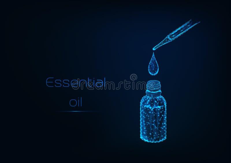 Descenso poligonal bajo que brilla intensamente de las caídas del aceite esencial de una pipeta en una botella cosmética libre illustration