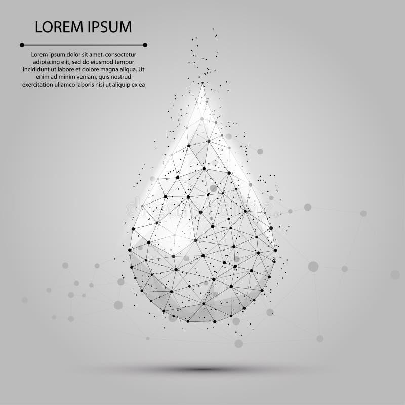 Descenso polivinílico bajo del agua del wireframe con los puntos y las estrellas Aguamarina o líquido fresca, ejemplo del vector  libre illustration