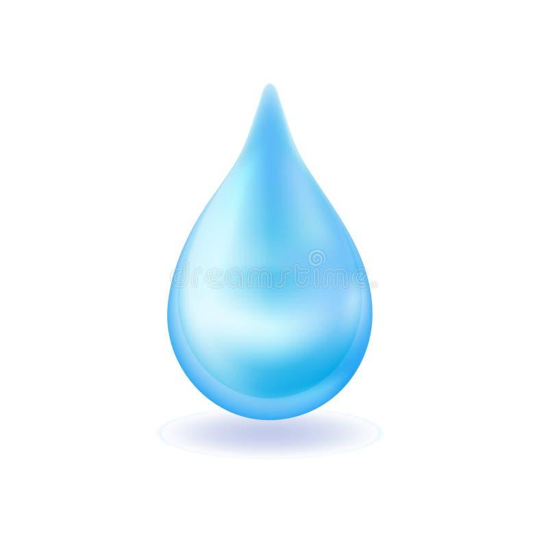 Descenso realista del agua azul caídas de la gotita del icono 3d Ilustración del vector stock de ilustración