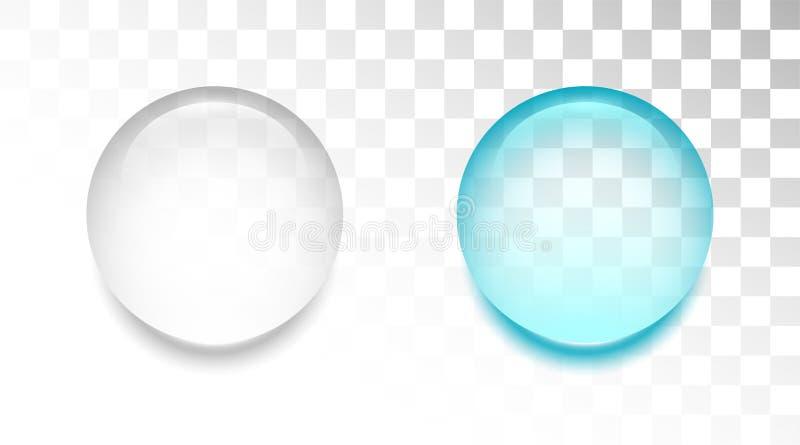Descenso transparente del agua en el fondo blanco stock de ilustración