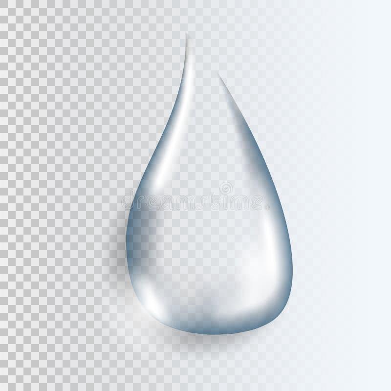 Descenso transparente puro realista del agua con la sombra ilustración del vector