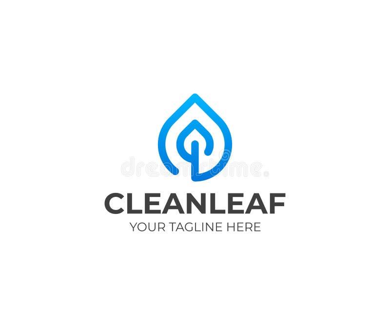 Descenso y línea plantilla de la hoja del logotipo Diseño de la gotita de agua y del vector de las hojas libre illustration