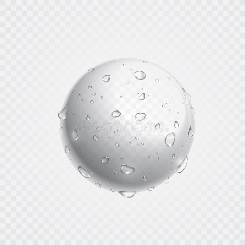 Descensos claros puros del agua en superficie Espray realista de las gotitas del vector ilustración del vector