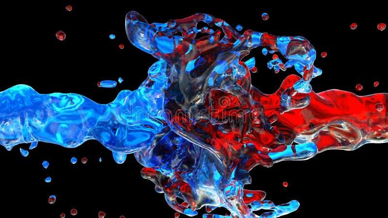 Descensos de la pintura del color en la cámara lenta Nube de la colisión de la pintura en fondo negro Ciérrese encima de la visió ilustración del vector