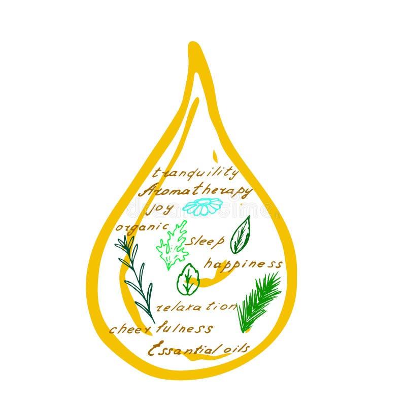 Descensos del aceite esencial stock de ilustración