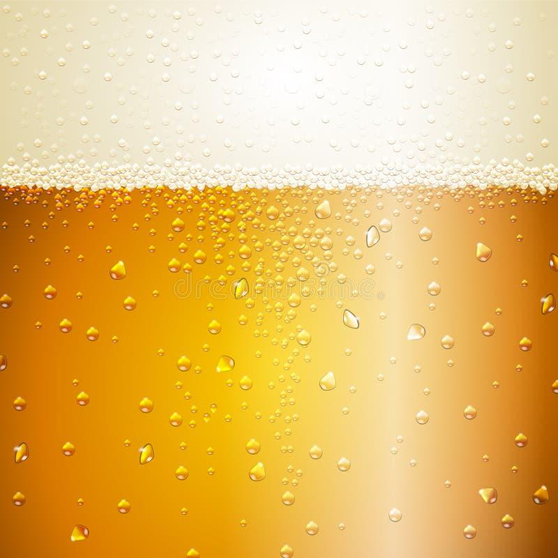 Descensos del agua en fondo de la cerveza stock de ilustración