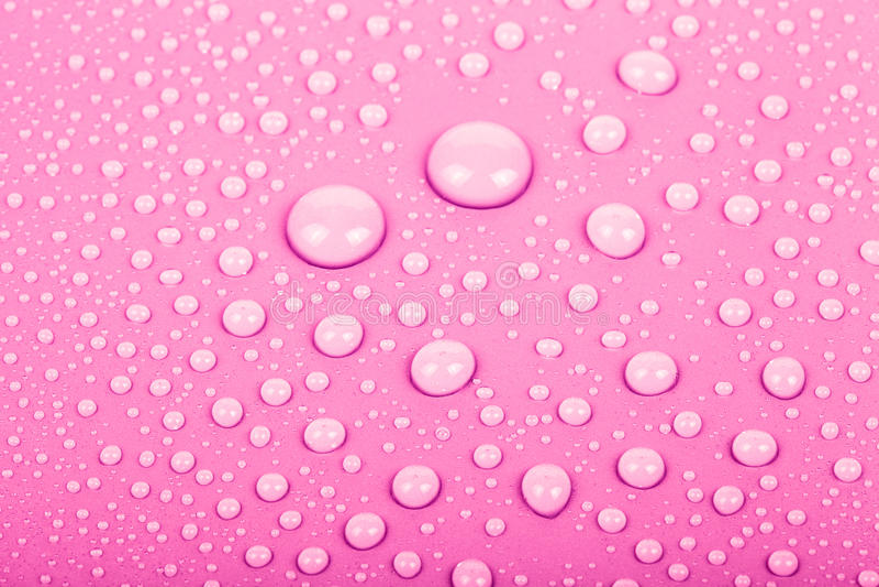 Descensos del agua en un fondo del color Color de rosa Profundidad baja del fie imágenes de archivo libres de regalías