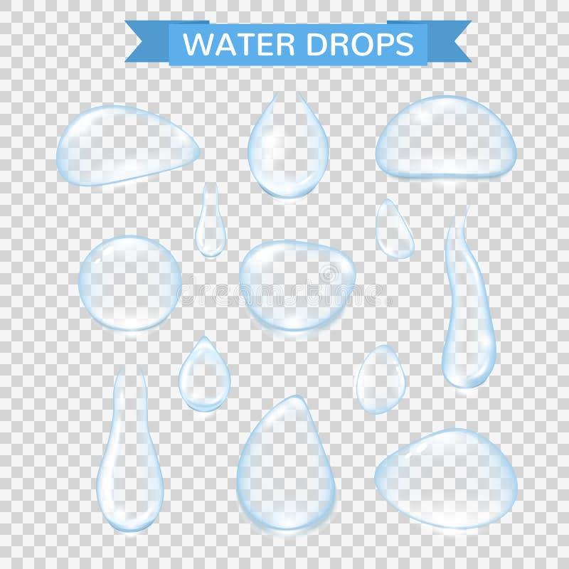 Descensos del agua Las gotas de lluvia realistas del agua fijaron aislado en fondo transparente Burbujas puras del agua del vecto libre illustration
