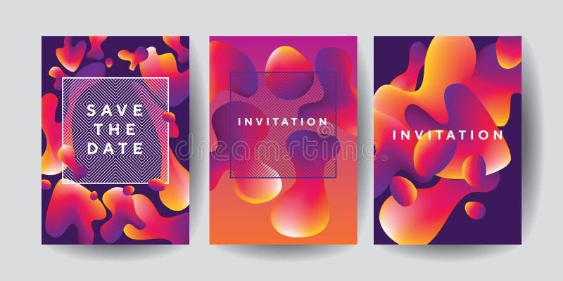 Descensos líquidos coloridos abstractos fijados para los carteles libre illustration